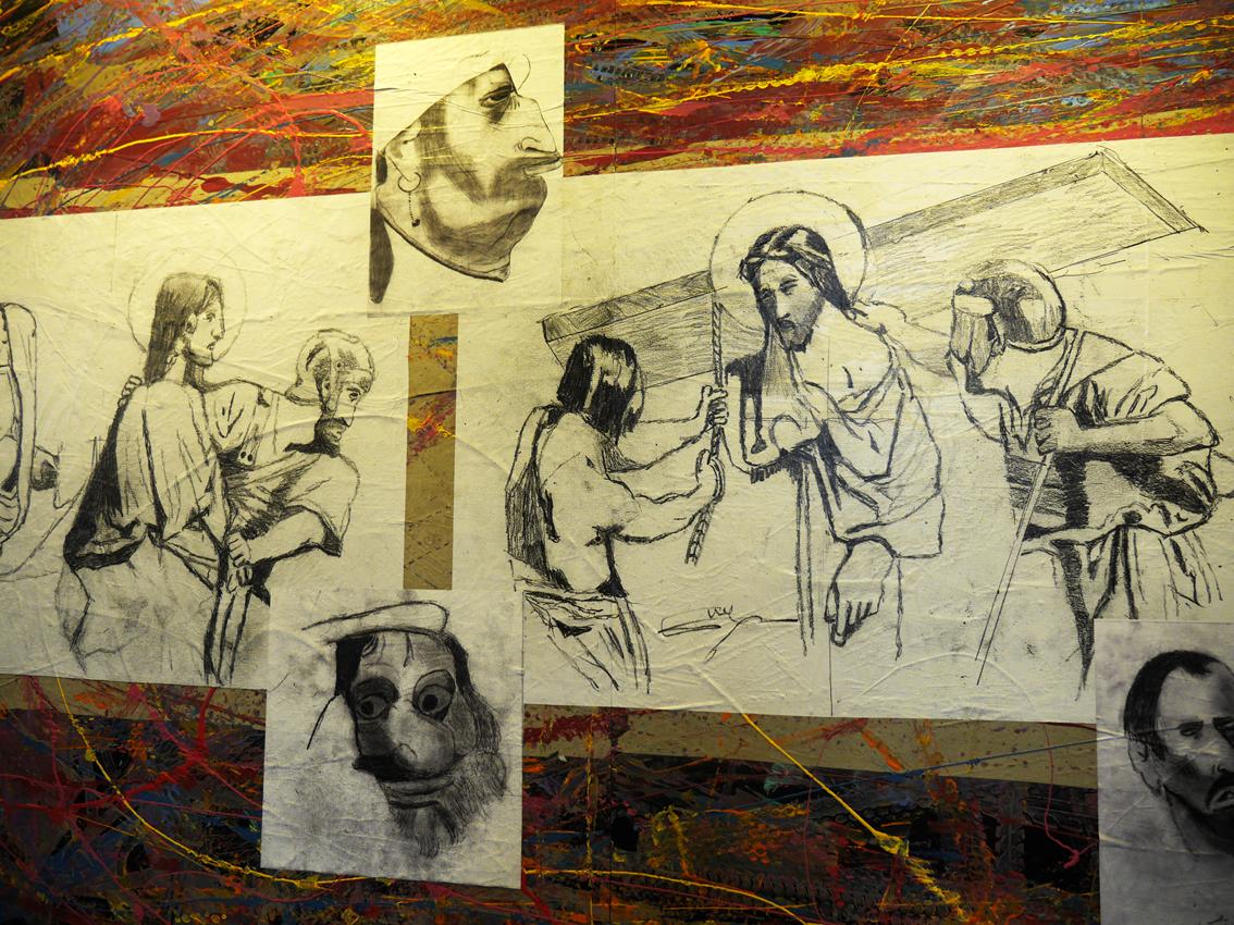 10ème station : Jésus est dépouillé de ses vêtements, 11ème station : Jésus est attaché à la croix © Fanny Magdelaine
