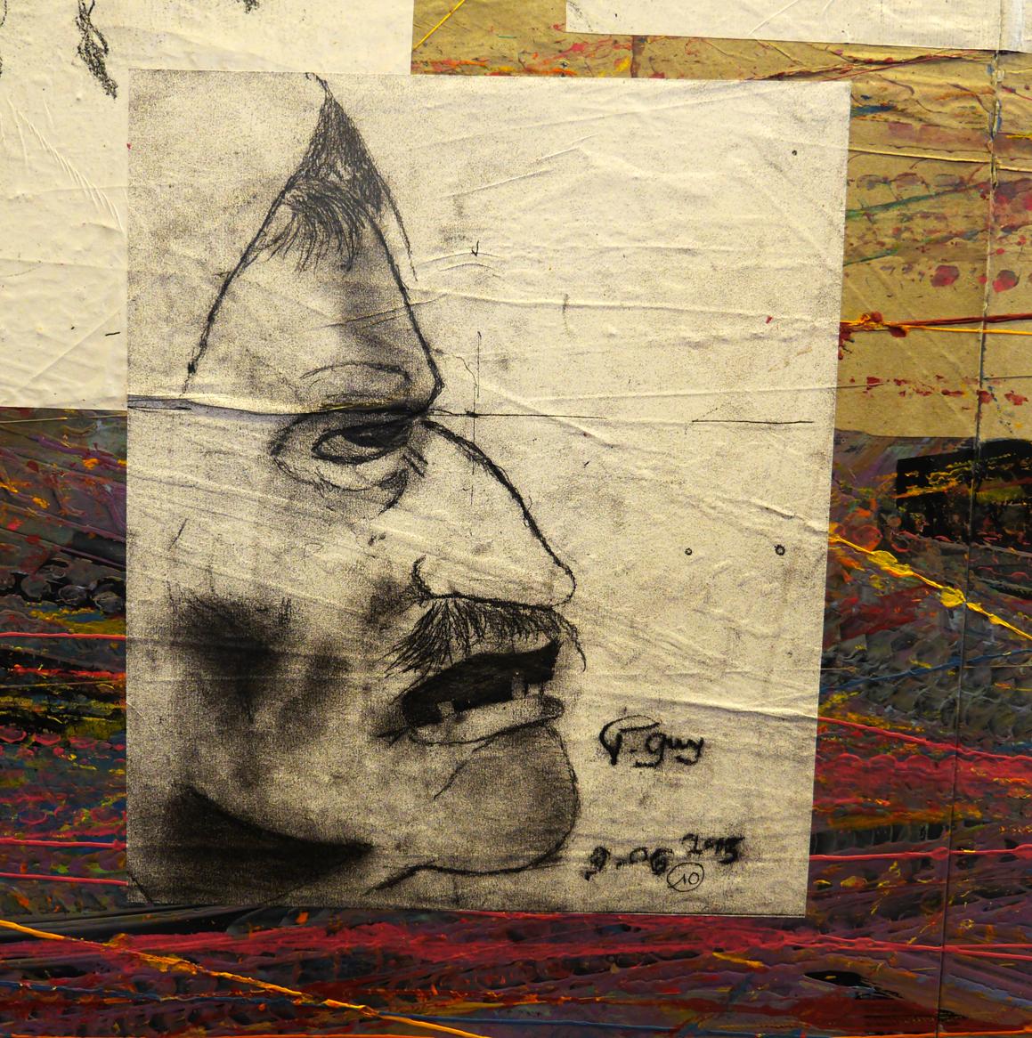 gros plan d'un « affreux », l'un des « affreux » personnages copiés du tableau de Jérôme Bosch Le portement de croix © Fanny Magdelaine