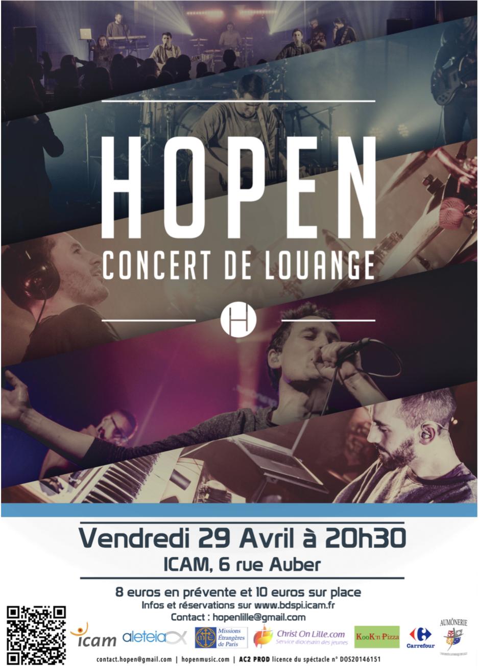 Concert de Hopen prévu le vendredi 29 avril à l'ICAM