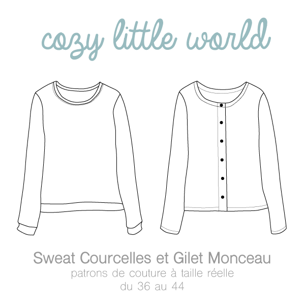 CROQUIS GILET MONCEAU / SWEAT COURCELLES