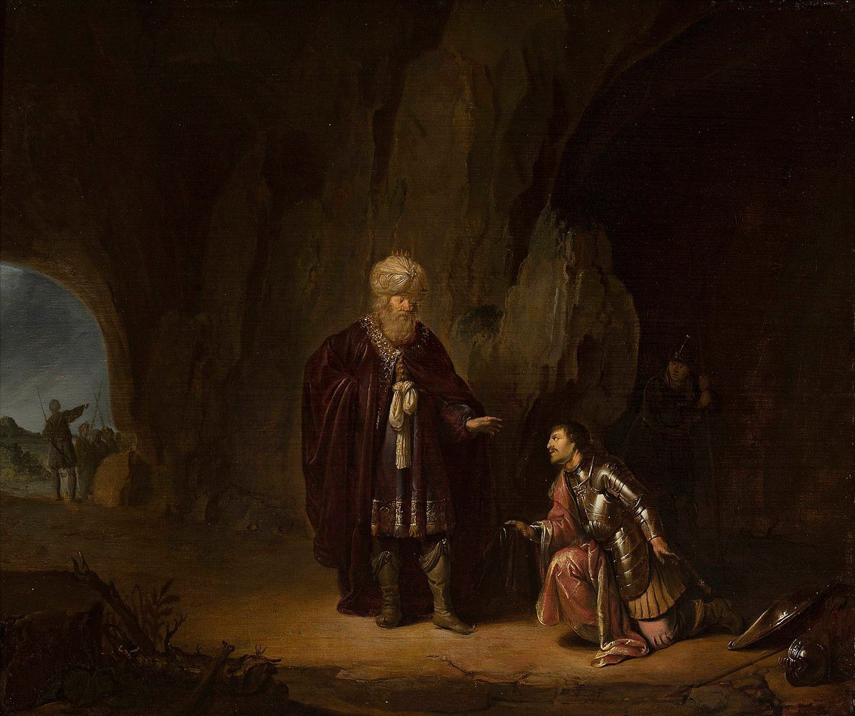 Saul and David in the cave of Ein Gedi.